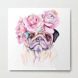 Flower Pug Metal Print