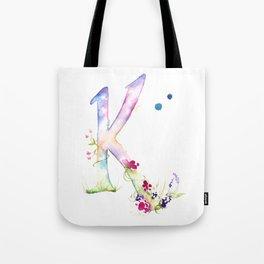 Letter K watercolor - Watercolor Monogram - Watercolor typography - Floral lettering Tote Bag