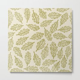 Light Oak Leaf Pattern - Green Metal Print
