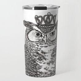 Great Horned Owl Wearing a Glittering Crown Travel Mug