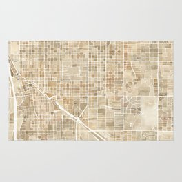 Tucson Arizona watercolor city map Rug