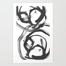 Interlock black and white paint swirls Art Print