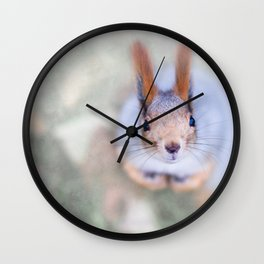 Squirrel looks at you from the bottom up Wall Clock