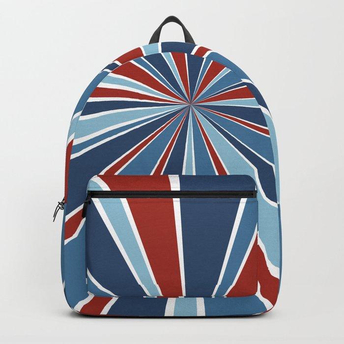 Star Burst Red White and Blue Backpack