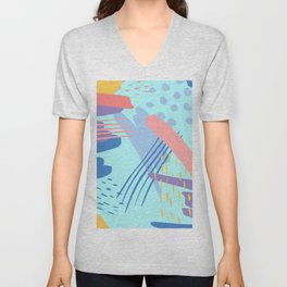 minimalist abstract painting colorful aqua blue mint purple pink pastel   Unisex V-Neck
