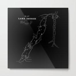 1853 Map of Lake George (black) Metal Print