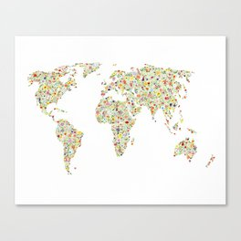 World Map Floral Watercolor Canvas Print