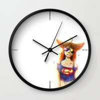 3d Wall Clocks featuring 3D by Kate  Fox