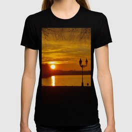Sunset Dark Sea On A Silent Winter Day With Trees T-shirt