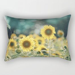Sunflower Flower Photography, Yellow Teal Nature Turquoise Aqua Blue Green Rectangular Pillow