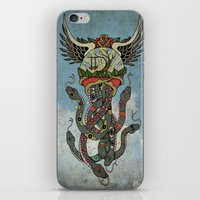 cthulu iPhone & iPod Skins featuring In To The Blue by Mark R. Skipper