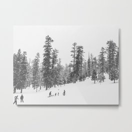 Sledding // Snowday Winter Sled Hill Black and White Landscape Photography Ski Vibes Metal Print