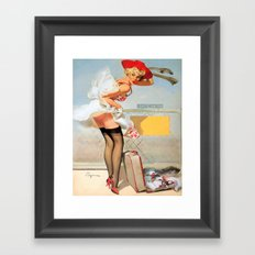 Luggage accident pinup girl Framed Art Print