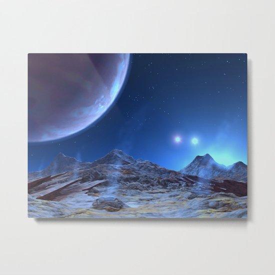 Extraterrestrial Landscape : Galaxy Planet Blue Metal Print