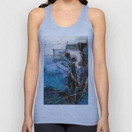 Midnight Sky, Acrylic artwork Unisex Tank Top