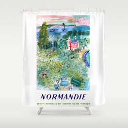 1952 Normandie France Railway Travel Poster Shower Curtain