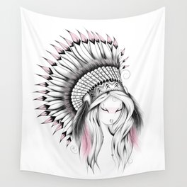 Indian Headdress Pink Version Wall Tapestry