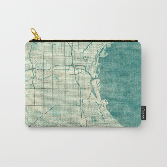 Milwaukee Map Blue Vintage Carry-All Pouch