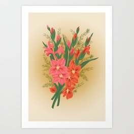 Bouquet of pink and red gladioluses Art Print