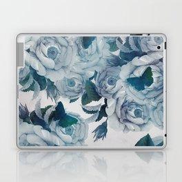 foral cyan blue roses & butterflies in spring Laptop & iPad Skin