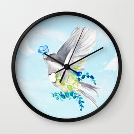 Little Bird Carries Blue Flower Wall Clock