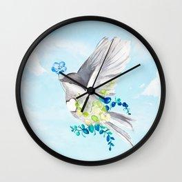 Little Bird Carries Blue Flower Wall Clock