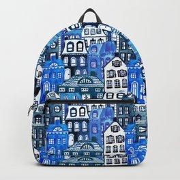 Mansard Village in Blue Watercolor Backpack