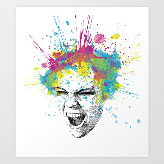 Crazy Colorful Scream Art Print