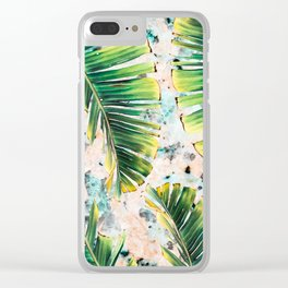 Palm leaf on marble 01 Clear iPhone Case