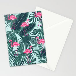 tropical pink flamingo Stationery Cards