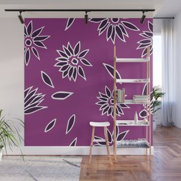 Dark Purple Falling Flora Pattern 2 Wall Mural