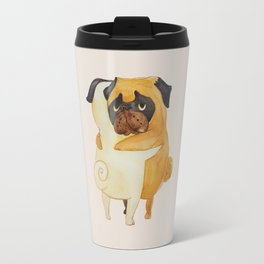 Pug Hugs Watercolor Travel Mug