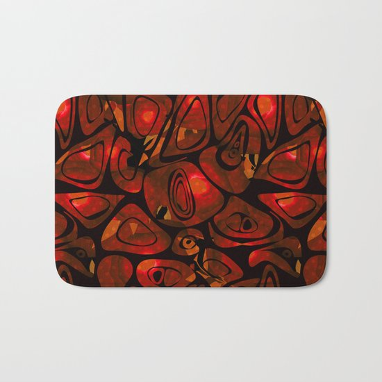 Abstract red black pattern stone texture Bath Mat