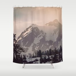 Pink Mountain Morning - Nature Photography Shower Curtain