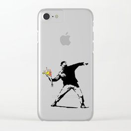 Banksy Flower Bomber Clear iPhone Case