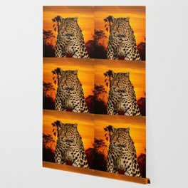Leopard and Sunset Wallpaper