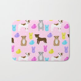 Pitbull dog breed peeps marshmallow easter spring dog pattern gifts pibble Bath Mat