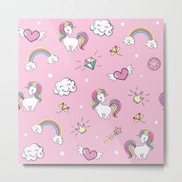 Unicorns & Rainbows Pink Metal Print