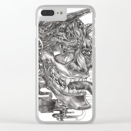 Sketching of hannya  mask Clear iPhone Case