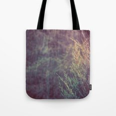 Green Forest - Snow and Rain on Fir Tree Branches Tote Bag