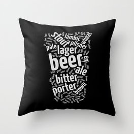 Beer Glass Word Throw Pillow
