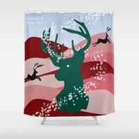 merry christmas Shower Curtains featuring merry christmas by mark ashkenazi