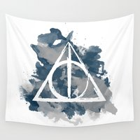 deathly hallows Wall Tapestries featuring The Deathly Hallows (Ravenclaw) by FictionTea