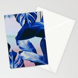 Cobalt blue tropical leaves Stationery Cards