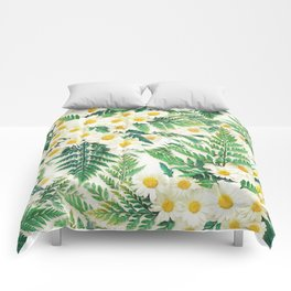 Textured Vintage Daisy and Fern Pattern  Comforters