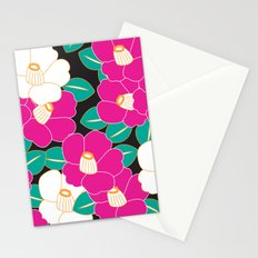 Japanese Style Camellia - Pink and Black Stationery Cards