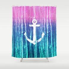 Nautical Anchor Pink Teal Watercolor Stripes Drips Shower Curtain