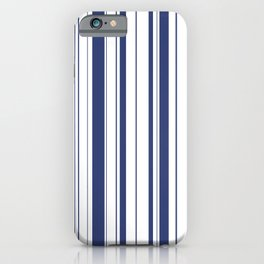 Minimalist Era - White & Indigo Blue Stripe Asymmetrical iPhone Case