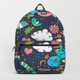 Hand draw autumn doodle pattern. Backpack
