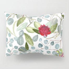 Eucalyptus Kangaroo paw watercolor floral design Pillow Sham